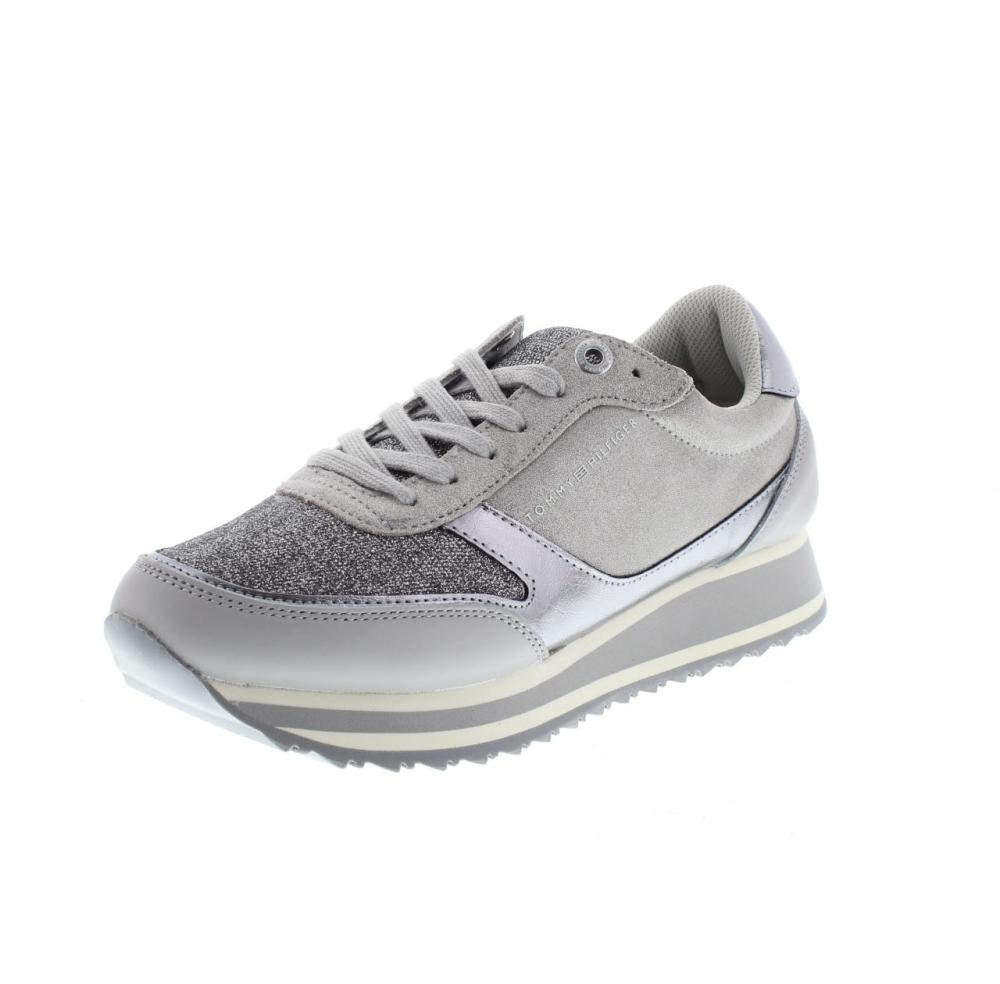 96b307439 TOMMY HILFIGER metallic retro runner grey Shoes sneaker woman ...